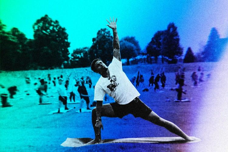 Jaire Alexander practicing yoga