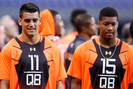 Quarterbacks Marcus Mariota #11 and Jameis Winston #15 during the 2015 NFL Scouting Combine. (Joe Robbins/Getty)