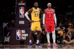 LeBron James and Carmelo Anthony at Staples Center on October 20, 2018. (Harry How/Getty)