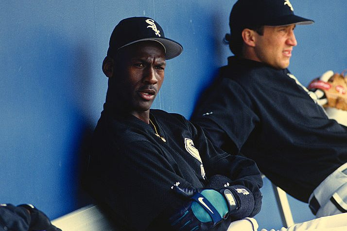 Michael Jordan #45 of the Birmingham Barons circa 1994. (Focus on Sport/Getty)