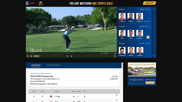 The PGA Tour Is Live-Streaming Every Shot at The Players Championship