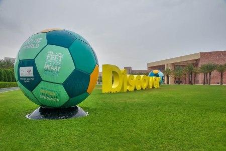 Soccer sculpture in Qatar