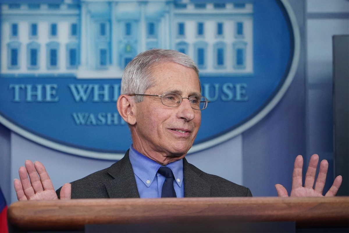 Dr. Anthony Fauci giving a coronavirus briefing