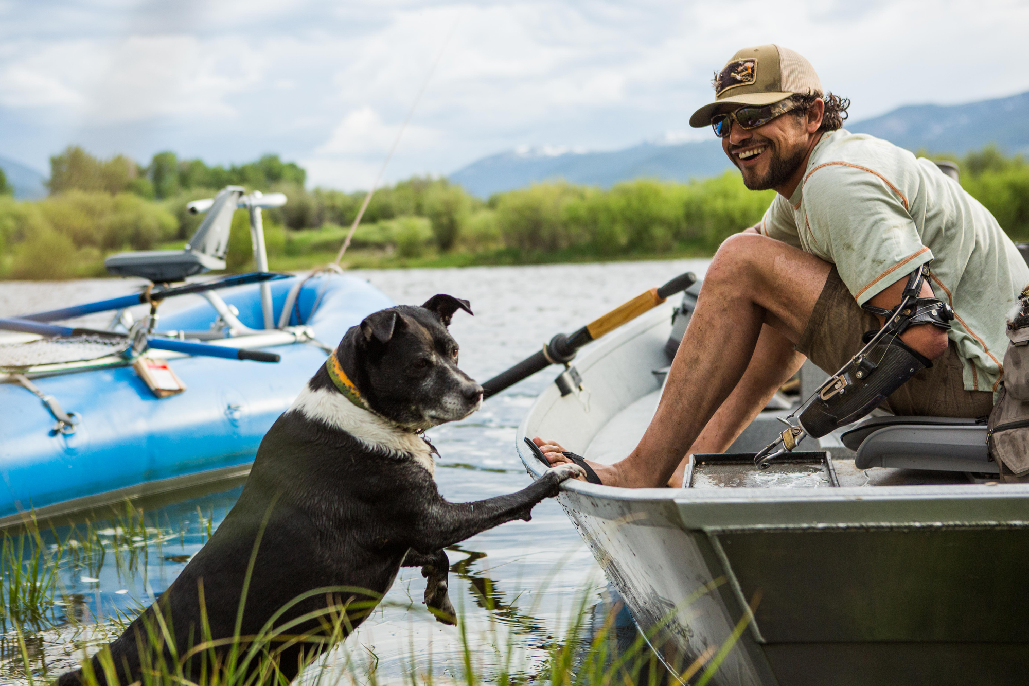 Eduardo Garcia and his dog, Veda