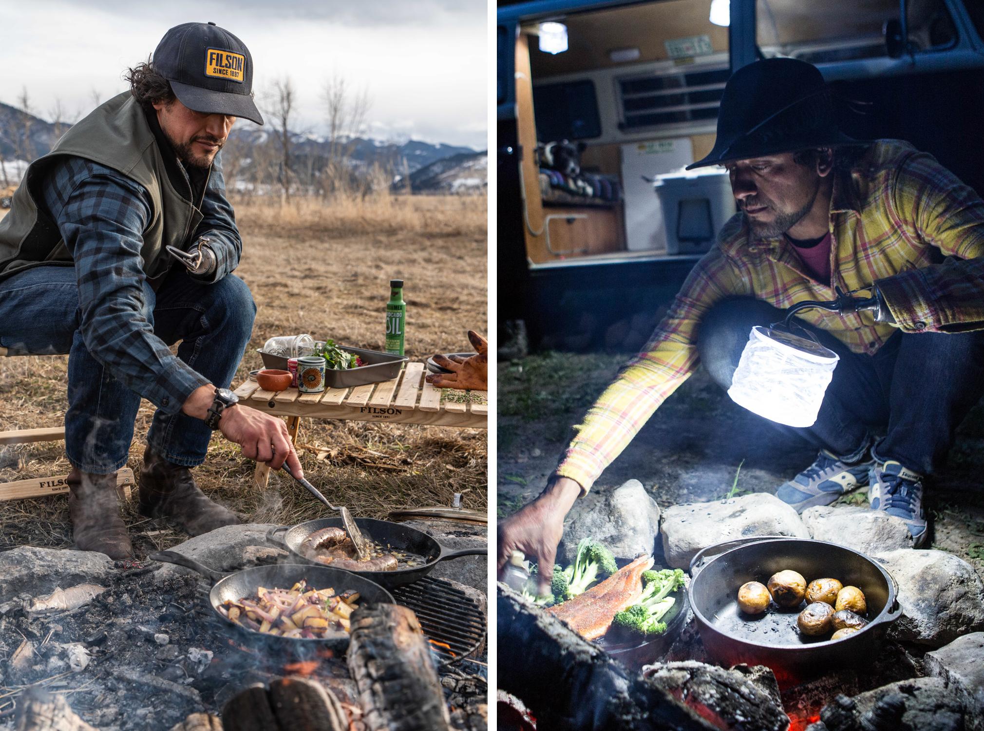 Eduardo Garcia cooking over an open fire