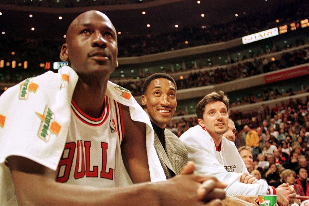 """The first two episodes of ESPN's """"The Last Dance"""" highlighted just how much Jordan and Pippen hated Jerry Krause.(VINCENT LAFORET/AFP via Getty Images)"""