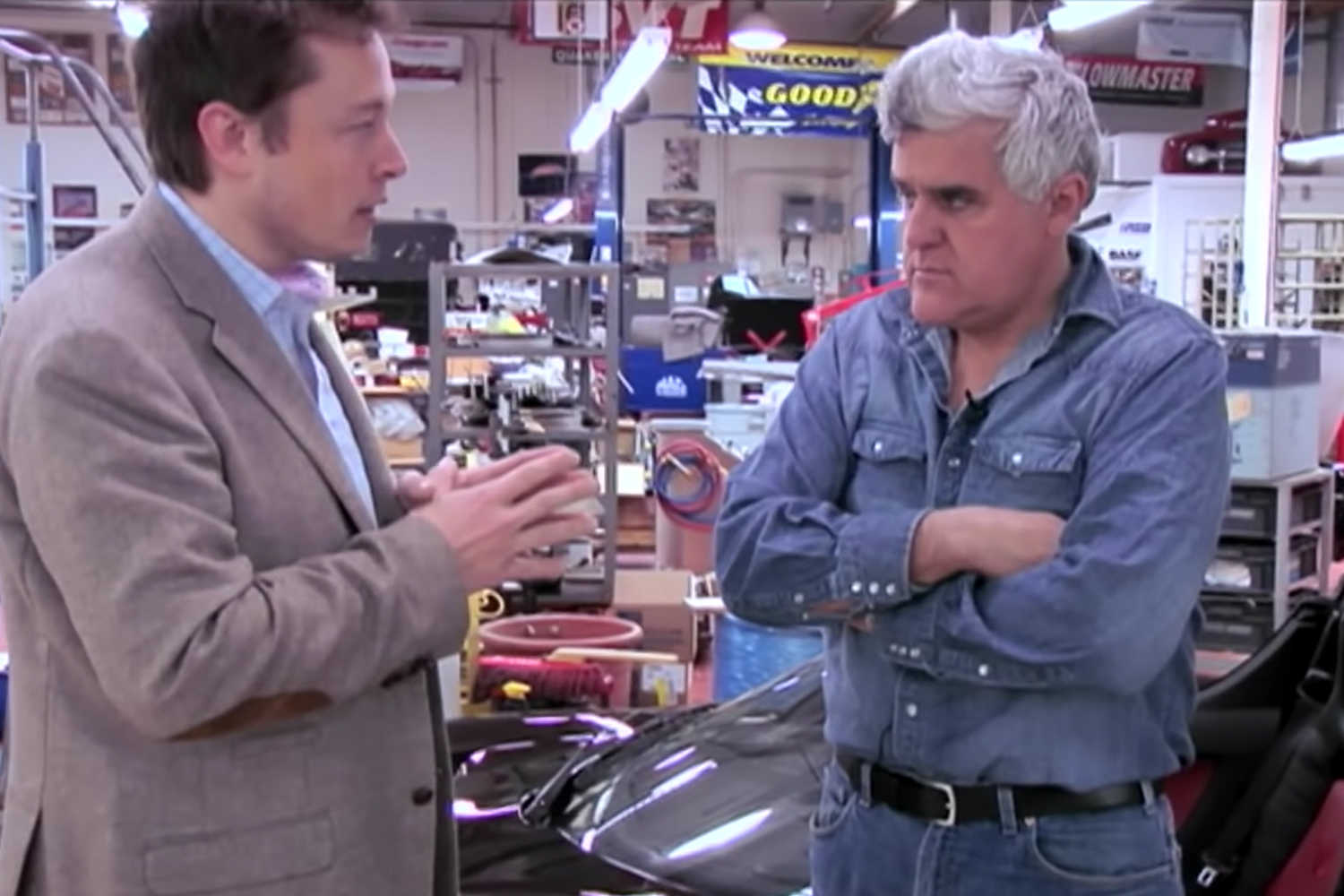 Jay Leno and Elon Musk's first interview
