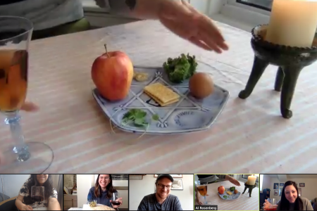 A digital seder held via Zoom.