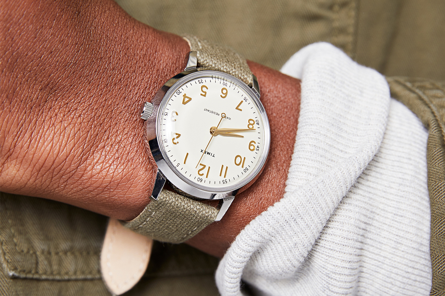 Man wearing the new Todd Snyder Timex Liquor Store watch