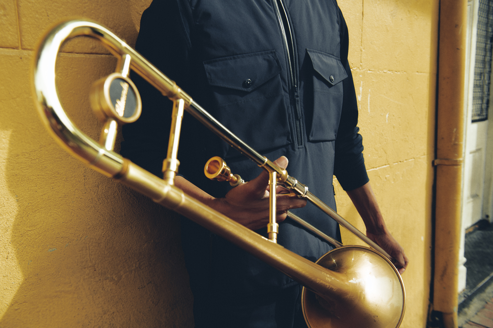 Trombone Shorty wearing Stone Island in the French Quarter