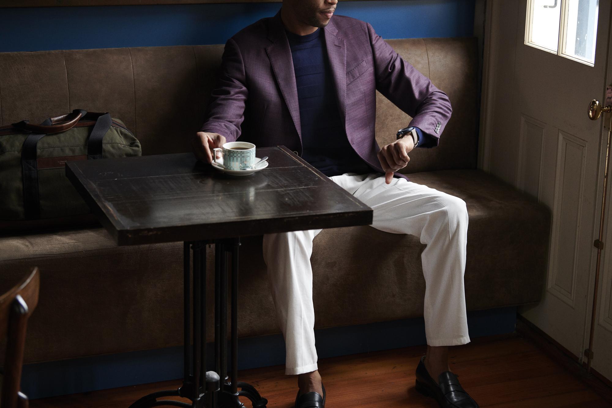 Trombone Shorty enjoying a cup of tea in Emporio Armani and Shinola