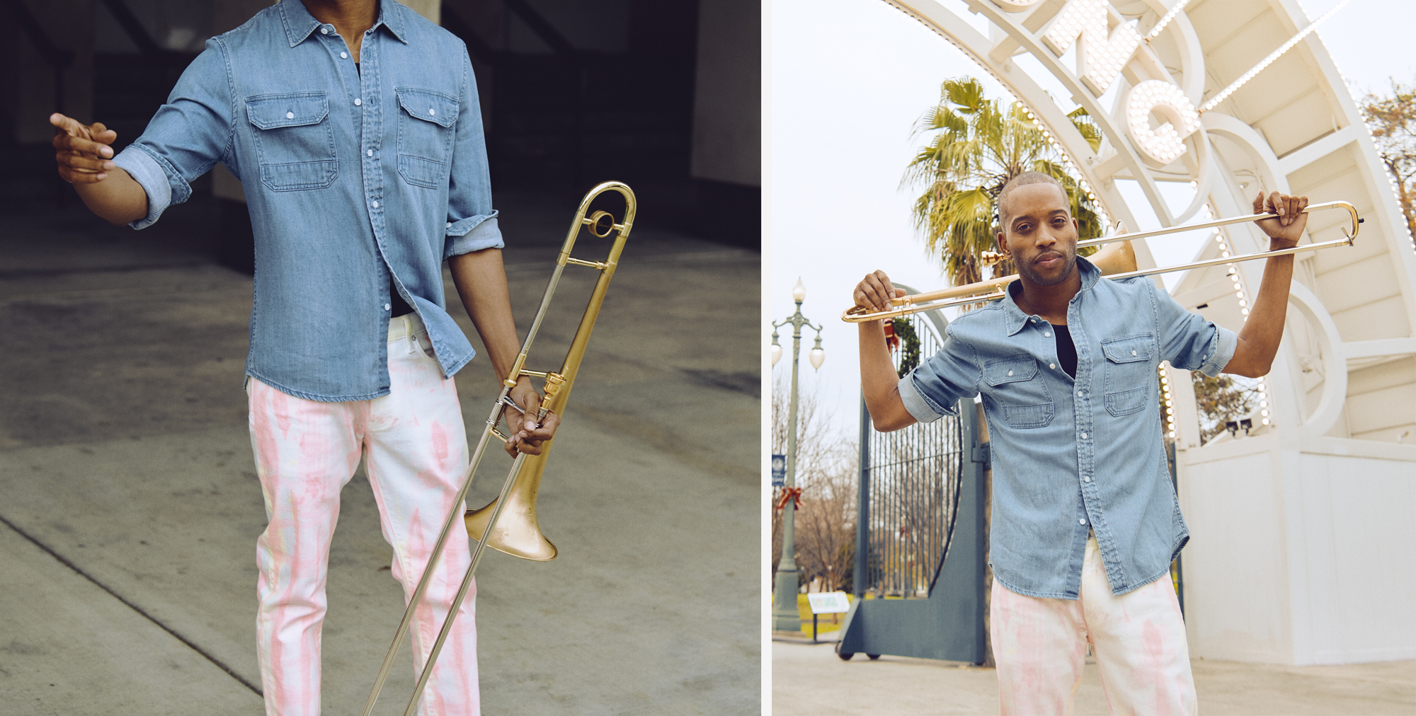 Trombone Shorty wearing 7 for all mankind and Ovadia at Louis Armstrong Park in New Orleans