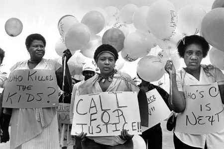 Mothers of missing and murdered kids in Atlanta preparing to march in 1984. (Georgia State University/AP/HBO)