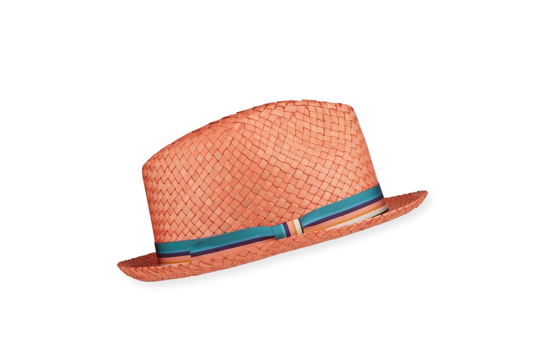 Woven Straw Fedora Hat w/ Striped Band Paul Smith