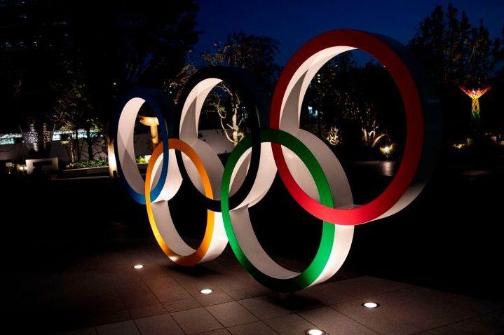 The Olympic rings in Tokyo on April 7, 2020.  (BEHROUZ MEHRI/AFP via Getty)
