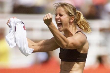 Brandi Chastain of the U.S. celebrates after scoring the winning penalty kick in 1999