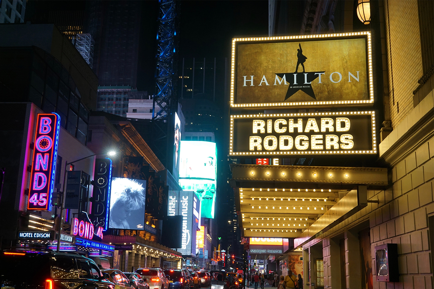 The Broadway marquee for the musical Hamilton
