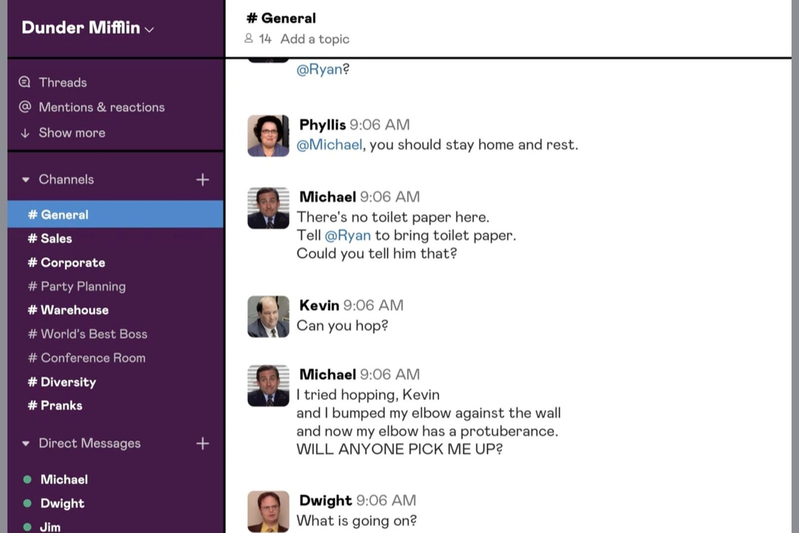 """The Office"" is playing out on Slack in real-time."