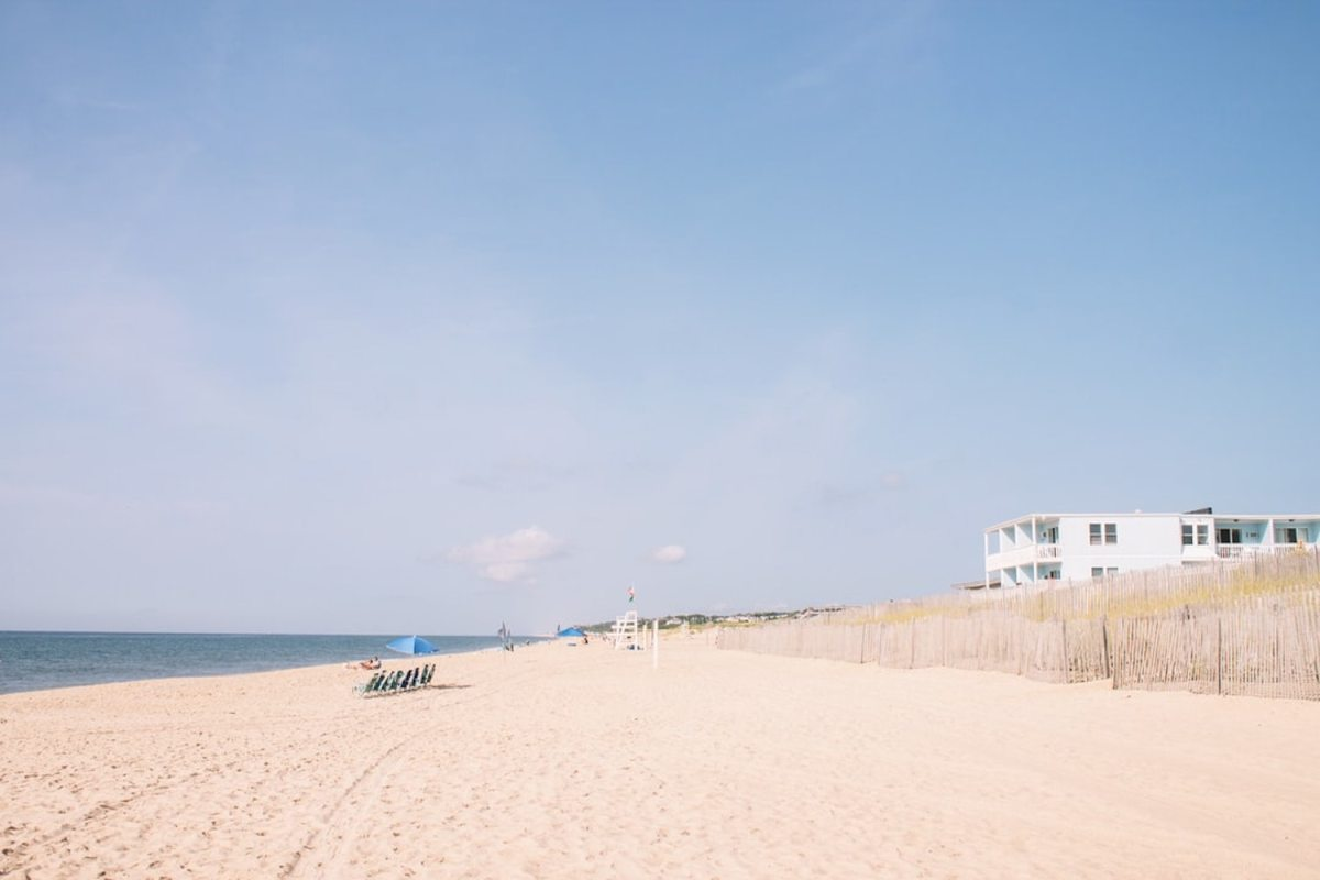 The view down a beach in the Hamptons