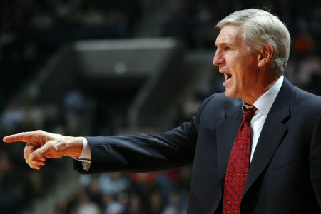 Jerry Sloan coaches during a game, before his death in 2020