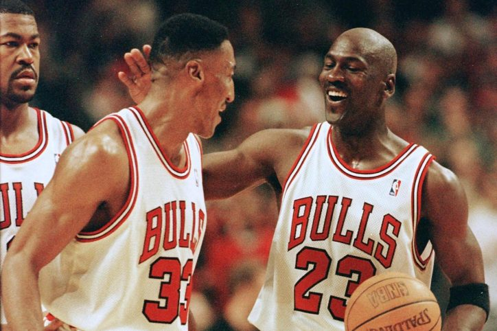 Michael Jordan and Scottie Pippen celebrate