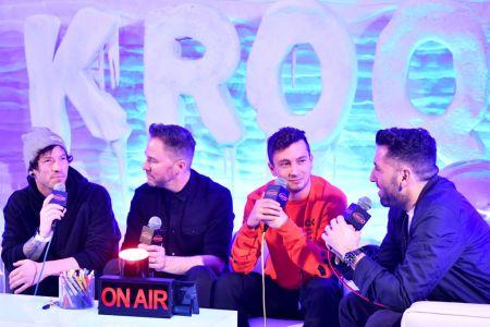 KROQ's Stryker & Klein hosts with members of Twenty One Pilots.