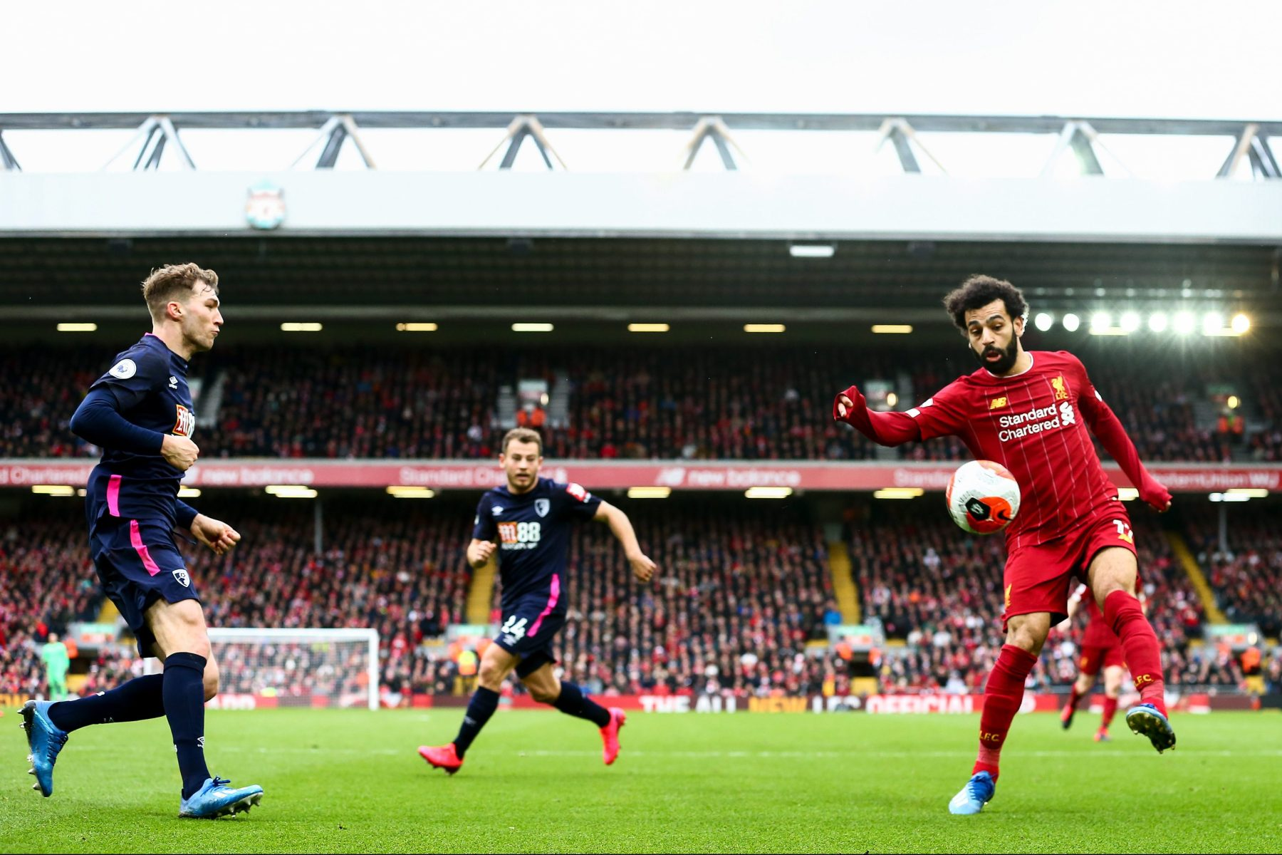 Mo Salah corrals a ball against AFC Bournemouth