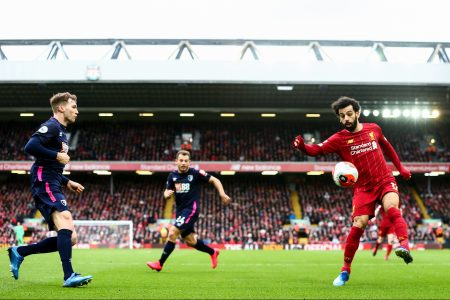 Mo Salah corrals a ball against AFC Bournemouth