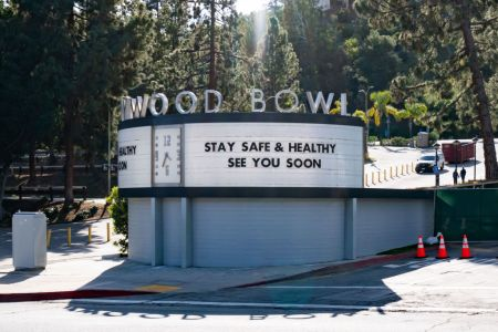 A general view of the Hollywood Bowl grand entrance after the 'Safer at Home' emergency order was issued by L.A. authorities amid the ongoing threat of the coronavirus outbreak on March 26, 2020 in Los Angeles. (Photo by AaronP/Bauer-Griffin/GC Images)