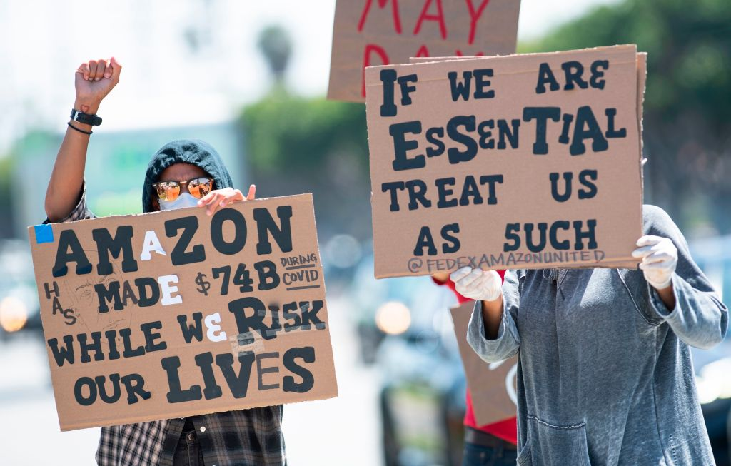 Amazon workers protest during pandemic