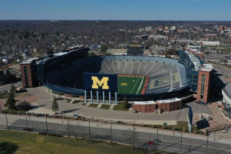 Aerial general view from a drone of Michigan Stadium on March 15, 2020 in Ann Arbor, Michigan.