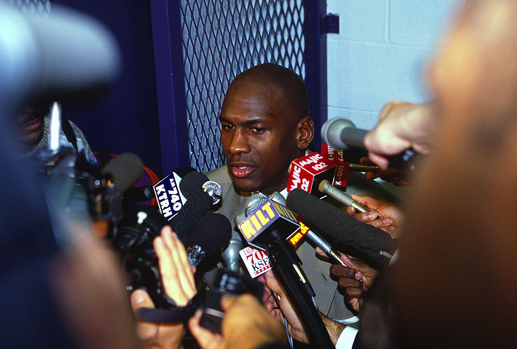 "Episodes 5 and 6 of ""The Last Dance"" see Jordan growing sick of the media spotlight. (Photo by Focus on Sport/Getty Images)"