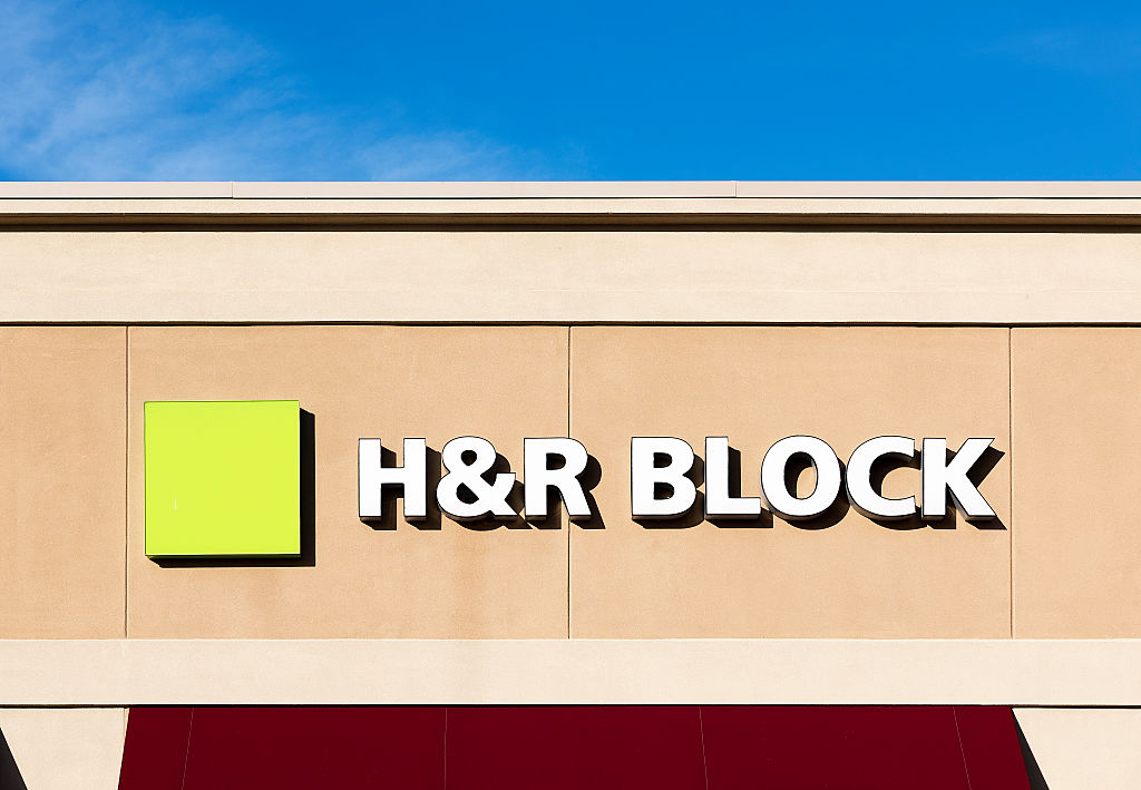 H&R Block tax preparation office exterior. (Photo by John Greim/LightRocket via Getty Images)
