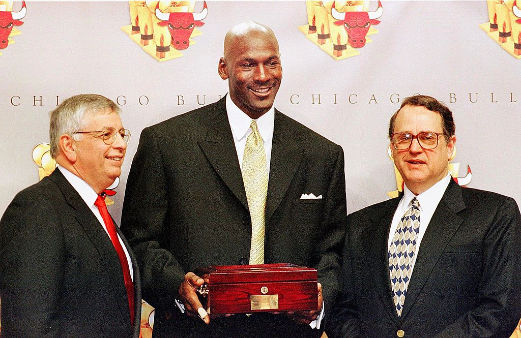 Michael Jordan with Jerry Reinsdorf, chairman of the Bulls, and NBA Commissioner David Stern