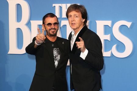 """Ringo Starr and Sir Paul McCartney arrive for the World premiere of """"The Beatles: Eight Days A Week - The Touring Years"""" at Odeon Leicester Square on September 15, 2016 in London, England. (Photo by Fred Duval/FilmMagic)"""