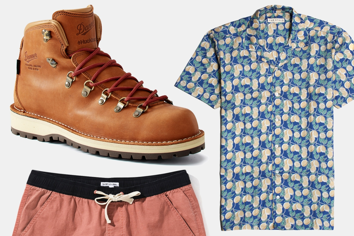 A Danner x Huckberry boot, Far Afield button-up and Banks Journal boardshorts