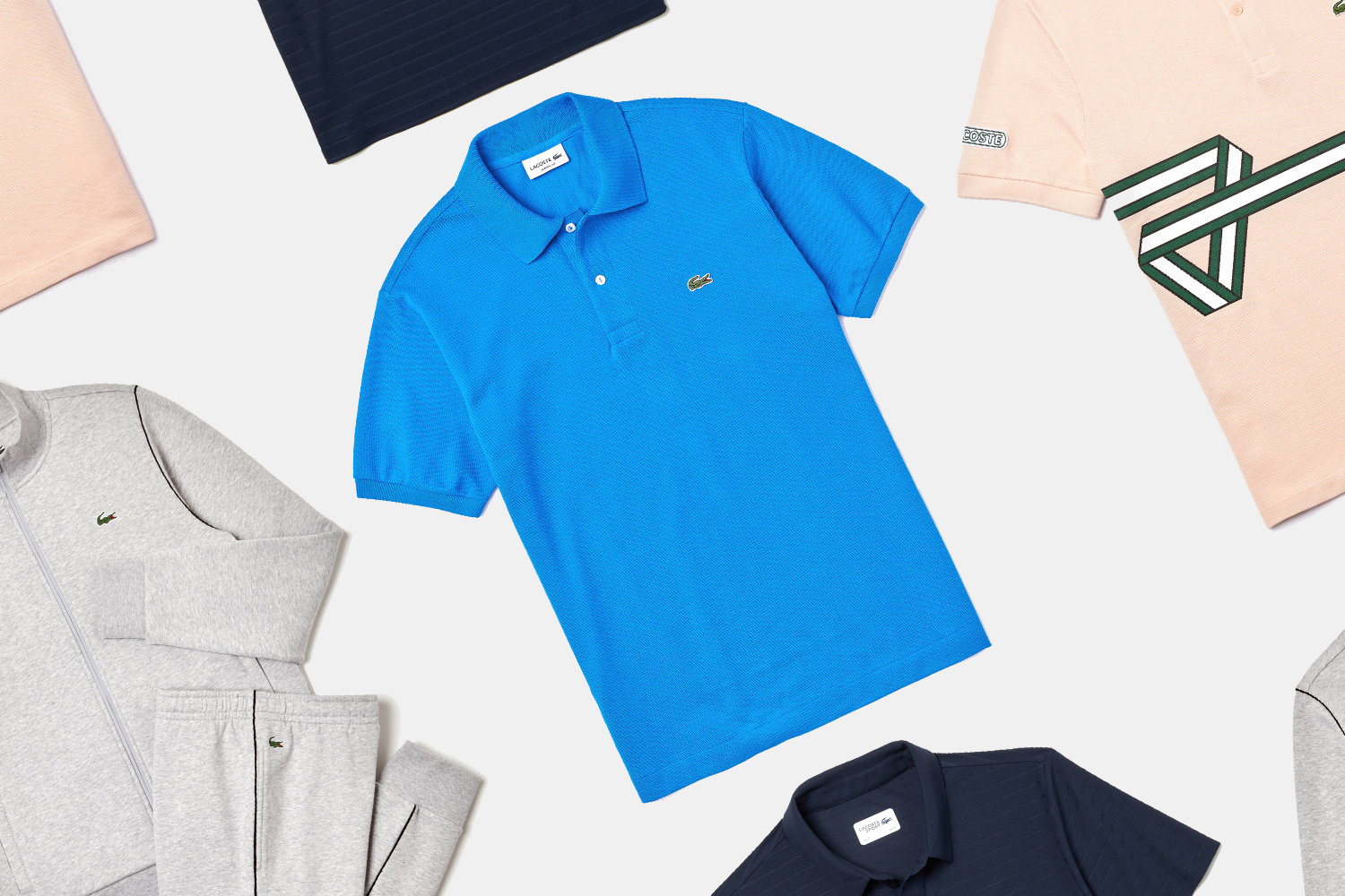 Lacoste polos, tracksuits and shirts