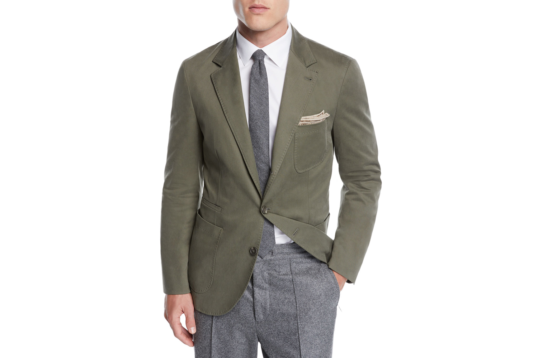 Patch-Pocket Cotton Blazer Jacket Brunello Cucinelli