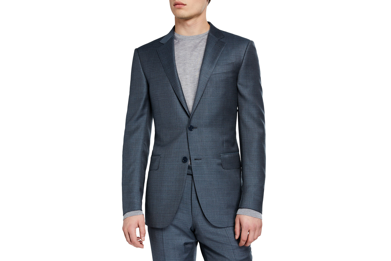 Two-Piece Textured Regular-Fit Solid Suit Ermenegildo Zegna