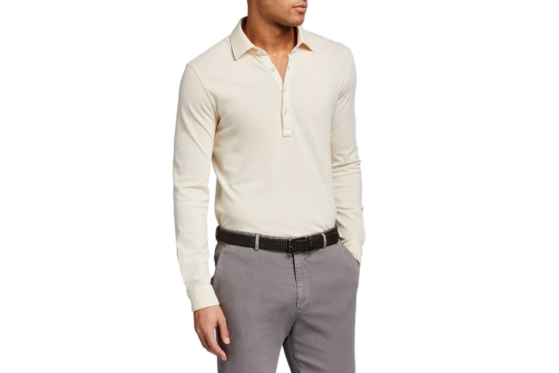 Pique Long-Sleeve Polo Shirt Boglioli