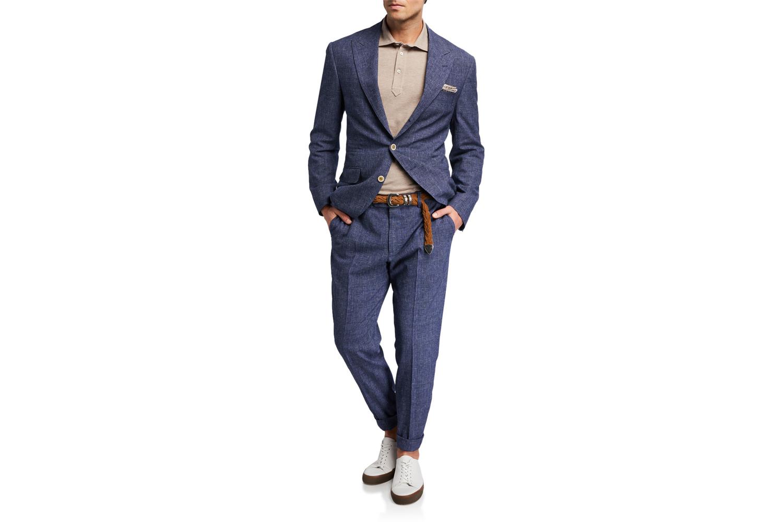 Glen Plaid Peak Lapel Two-Piece Suit Brunello Cucinelli
