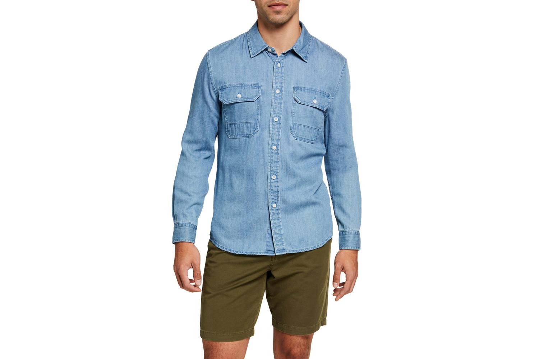 7 for all mankind Men's Light-Wash Denim Sport Shirt