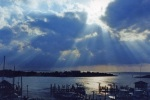 Sun shines on the water in the Outer Banks