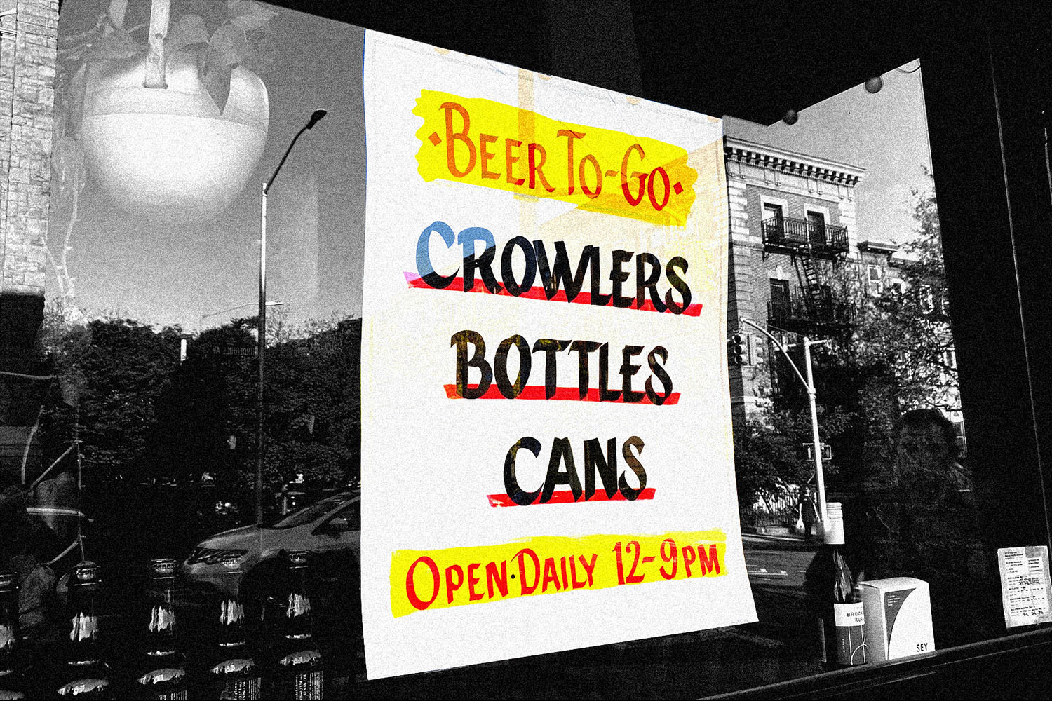 hand painted sign gold star beer counter