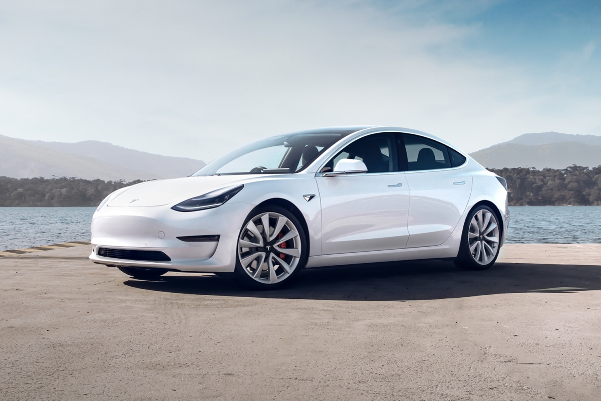 Tesla Model 3 in white