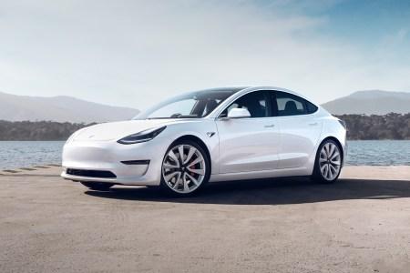 Tesla Model 3 in white