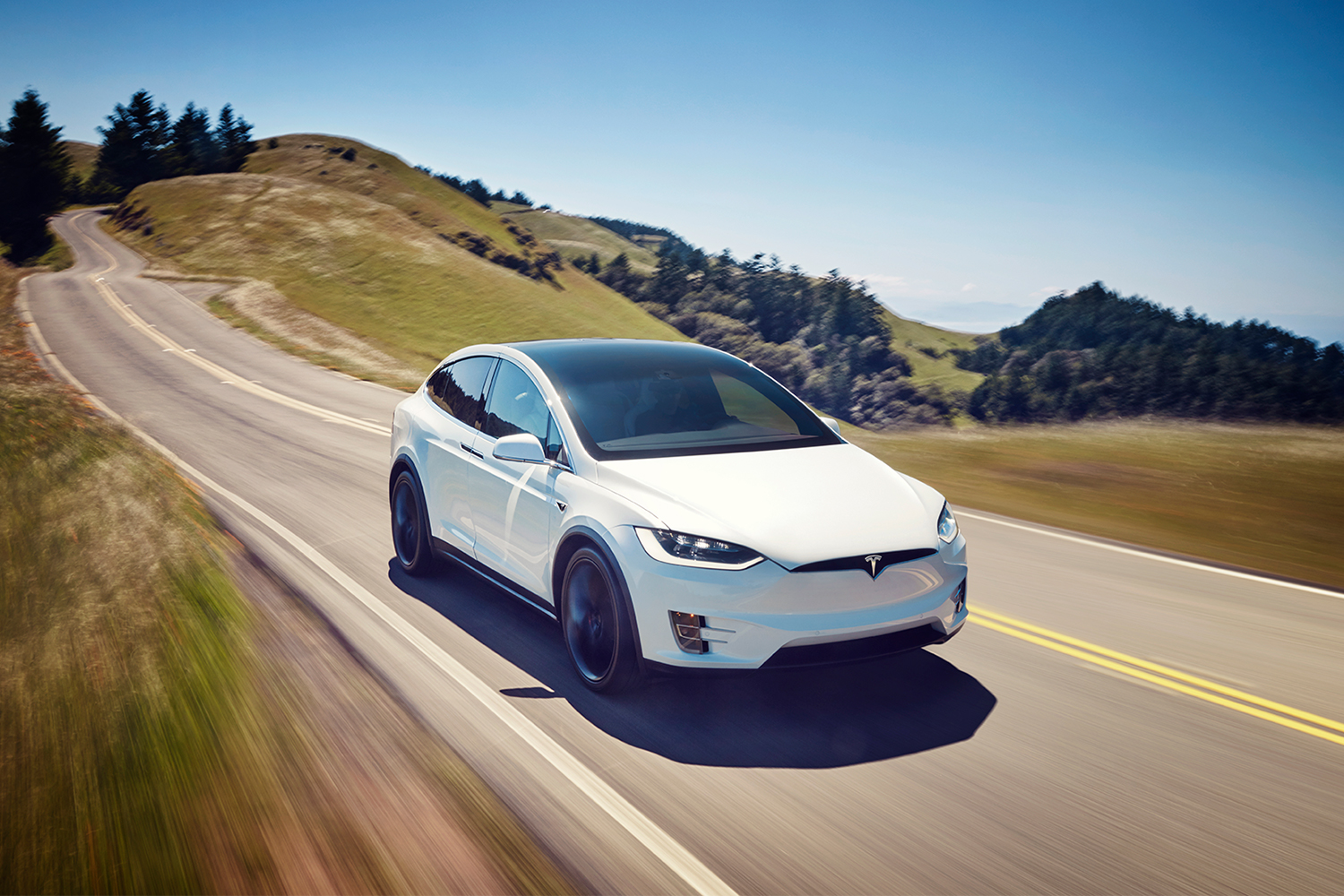 A Tesla Model X electric SUV in white