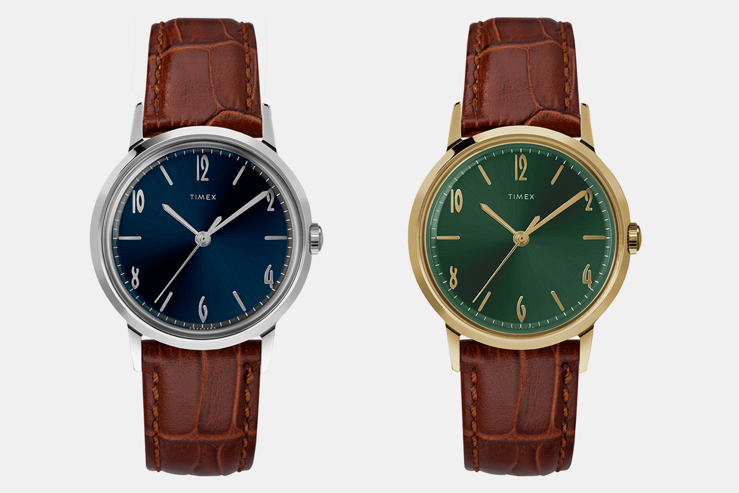 Timex Marlin Hand-Wound Watches in blue and green
