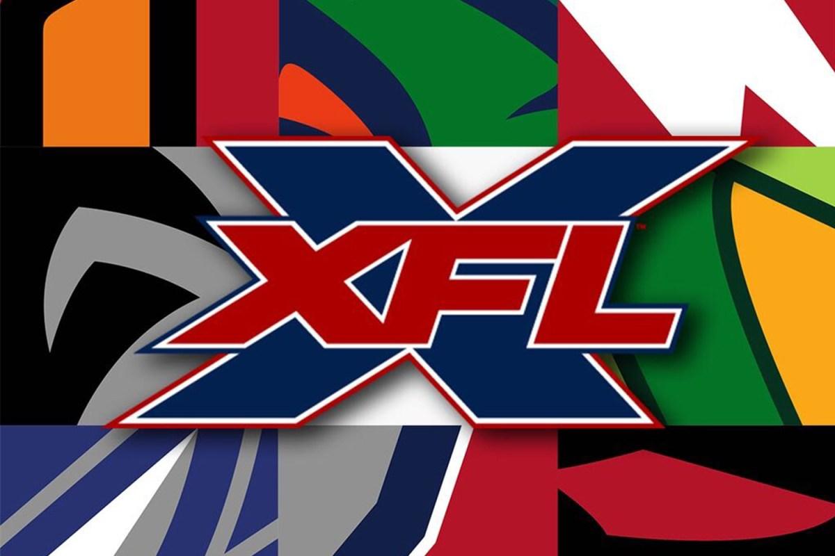 2020 XFL logo in front of football team logos