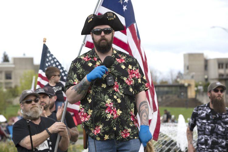 An alt-right member wears a Hawaiian shirt